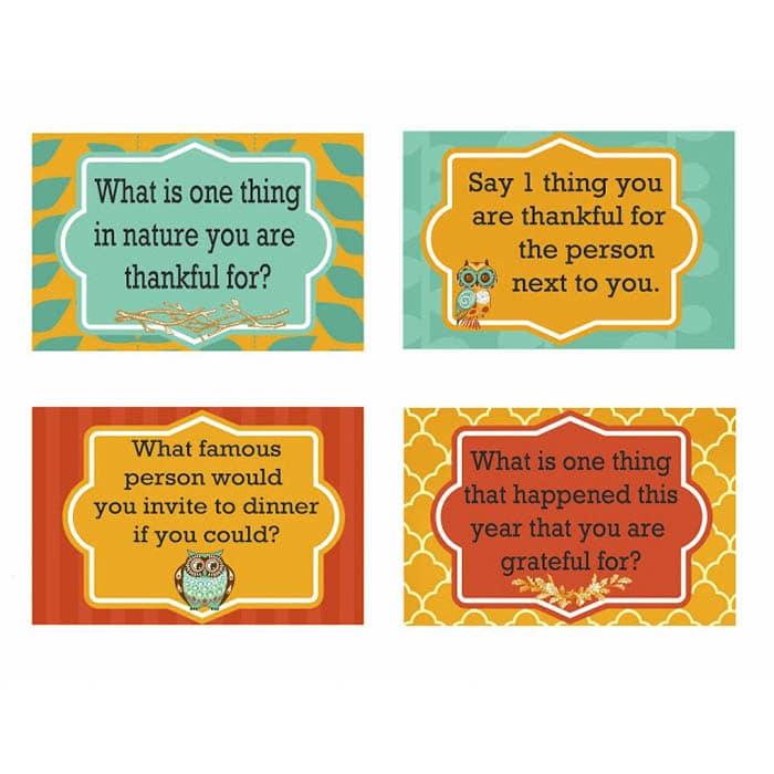 Basket of Thanksgiving Dinner Conversation Cards