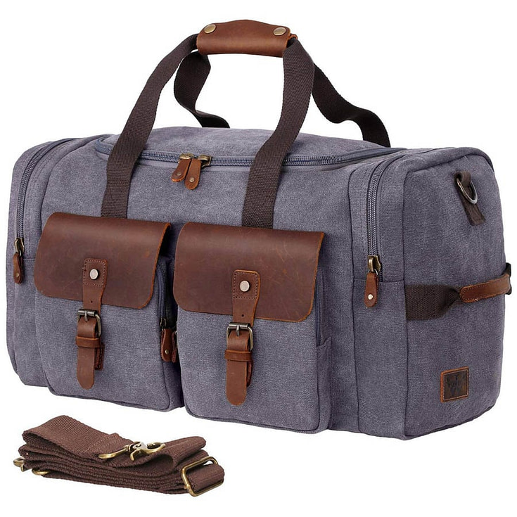 Canvas Weekend Bag with Leather Accents