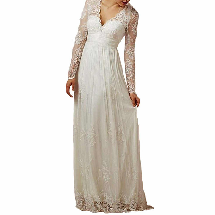 Women's Long Sleeves Lace Up Wedding Dress