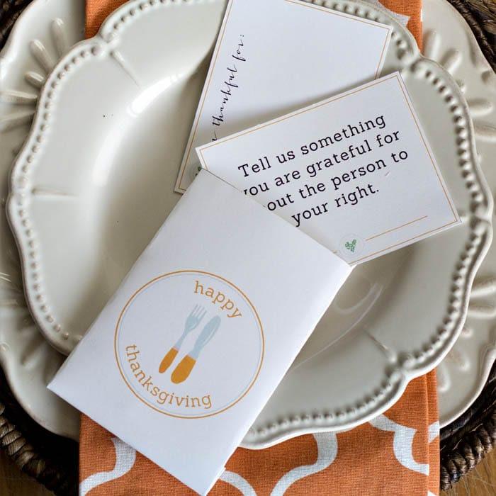 Thanksgiving Utensil Holder Printable Set