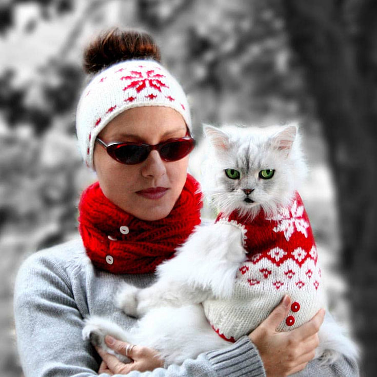 Snowflake Pattern Hat with Matching Sweater for Pets