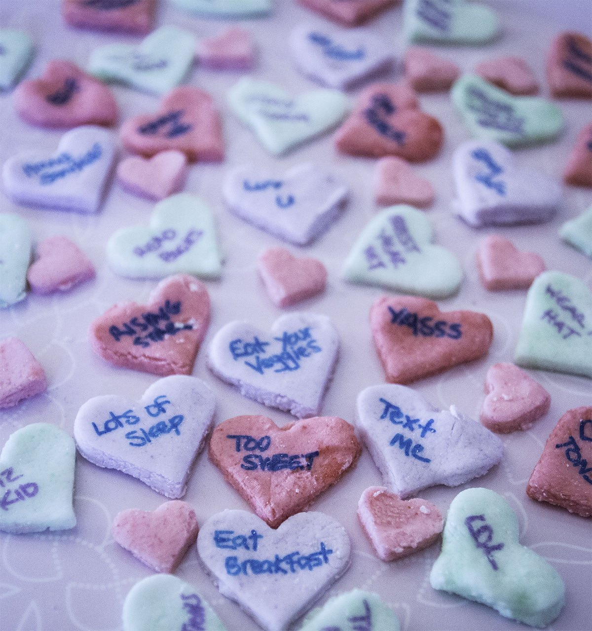 These homemade candy hearts taste better than the kind you can buy in the store and you can add your own message to them! They're perfect for care packages of all kinds - especially for college students.