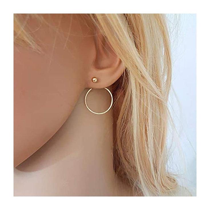 Circle Ear Jacket Earrings