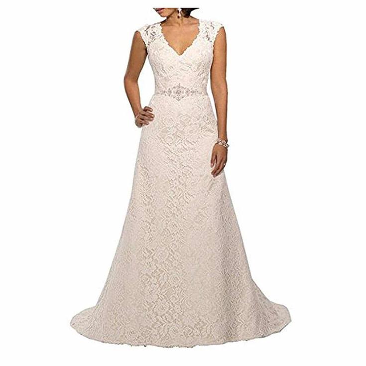 Cap Sleeve Lace Over Satin Wedding Dress