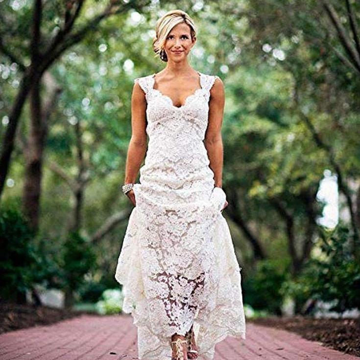 Women's Keyhole Back Lace V Neck Bridal Gown