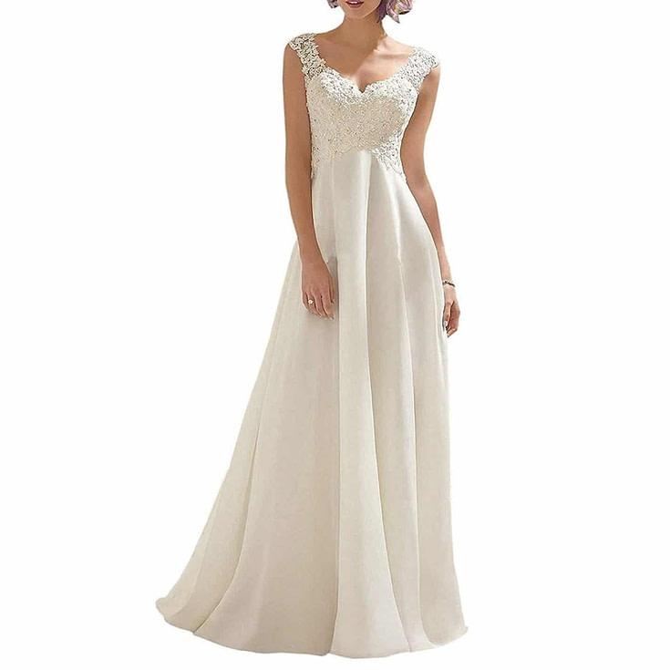 Double V Lace Wedding Dress