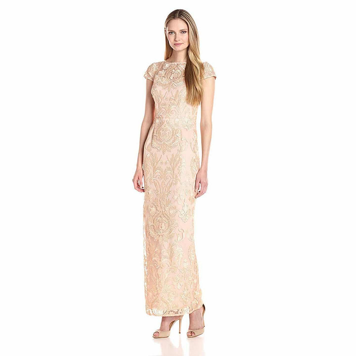 Women's Cap Sleeve Embroidered Gown
