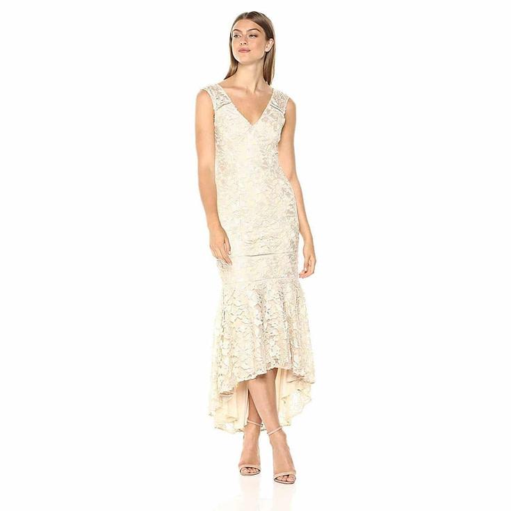 Adrianna Papell Women's Gardenia Guipure Long Dress
