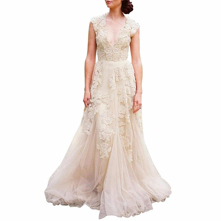 Vintage Cap Sleeve Lace Wedding Dress