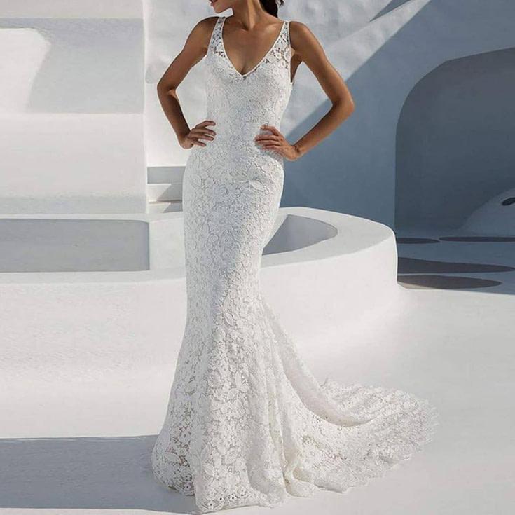 Sleeveless Tank Long Wedding Dress