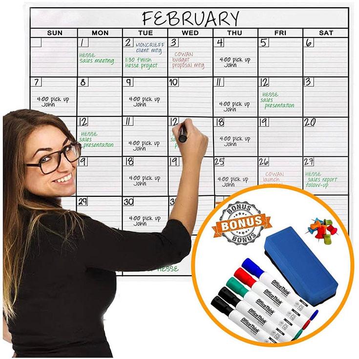 Jumbo Dry Erase Laminated Wall Calendar