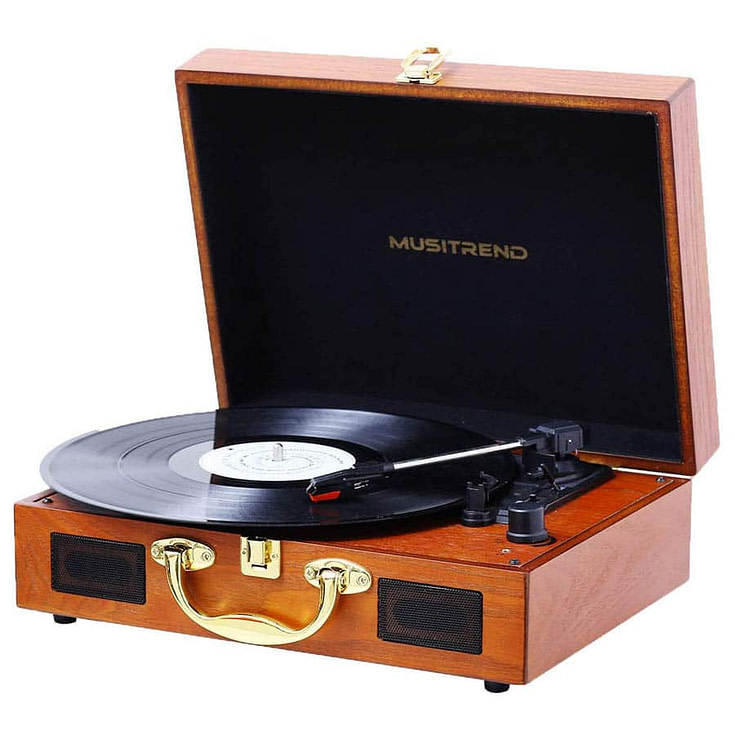 Bluetooth Portable Suitcase Turntable with Built-in Speakers